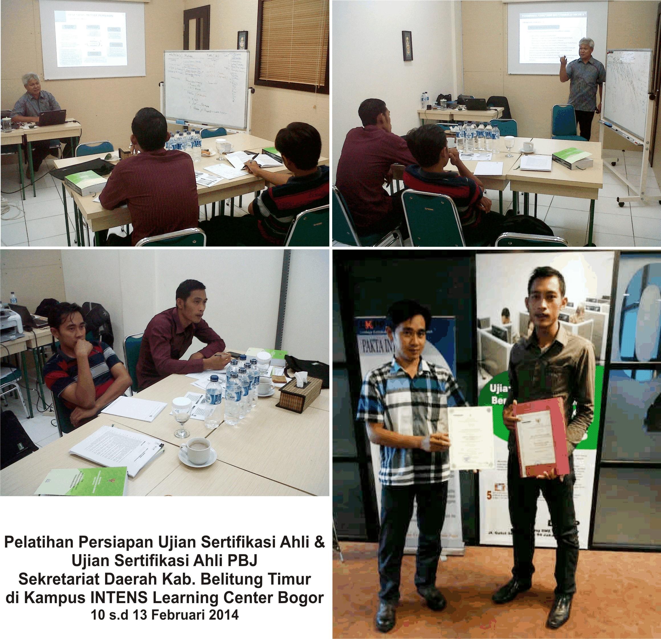 Pelatihan Persiapan Ujian Sertifikasi PBJ Setda Kab. Belitung Timur